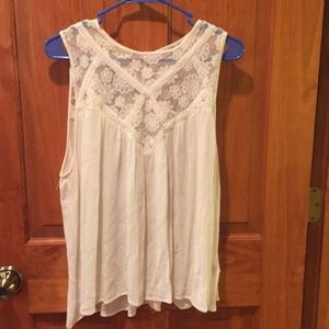 Really Cute Cream Tank With Lace Detail